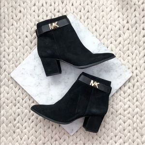 Michael Kors Black Suede Heeled Ankle Boots